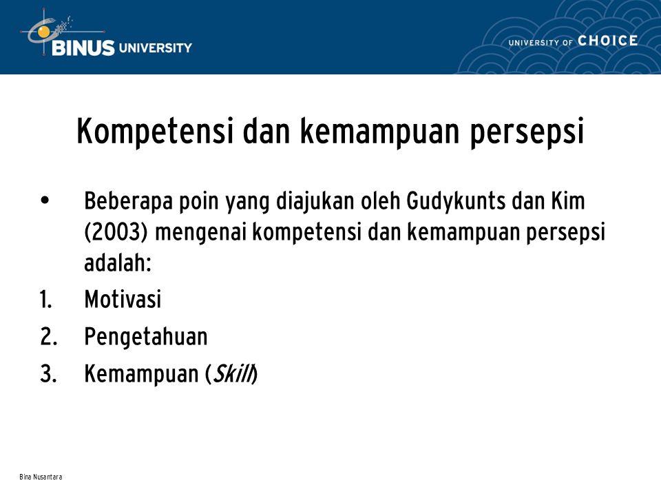 Bina Nusantara Kompetensi dan kemampuan persepsi Beberapa poin yang diajukan oleh Gudykunts dan Kim (2003) mengenai kompetensi dan kemampuan persepsi