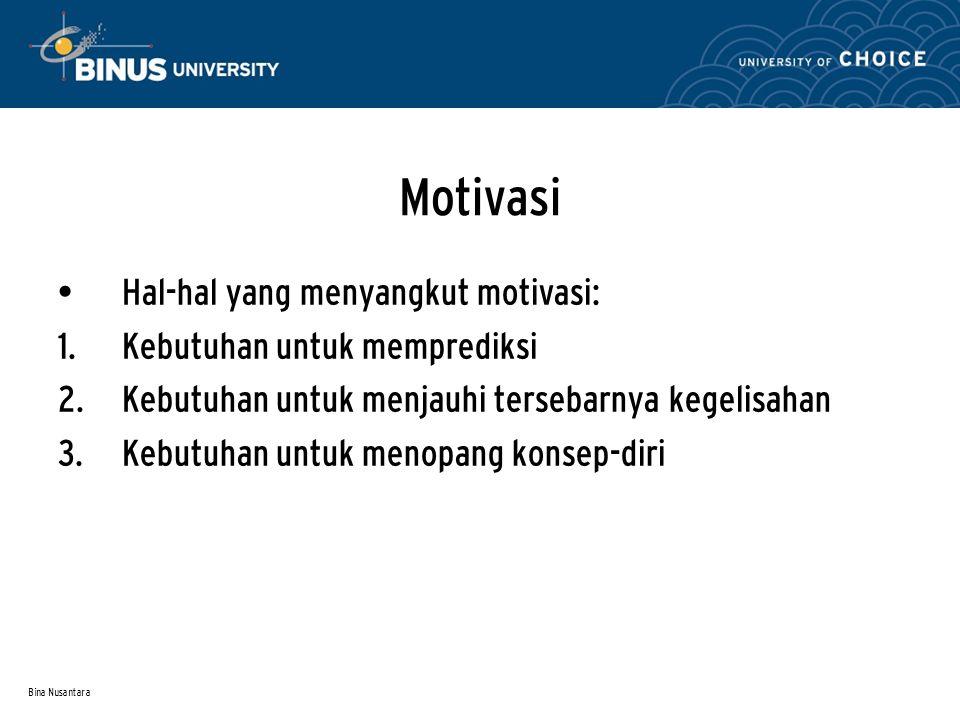 Bina Nusantara Motivasi Hal-hal yang menyangkut motivasi:  Kebutuhan untuk memprediksi  Kebutuhan untuk menjauhi tersebarnya kegelisahan  Kebutu