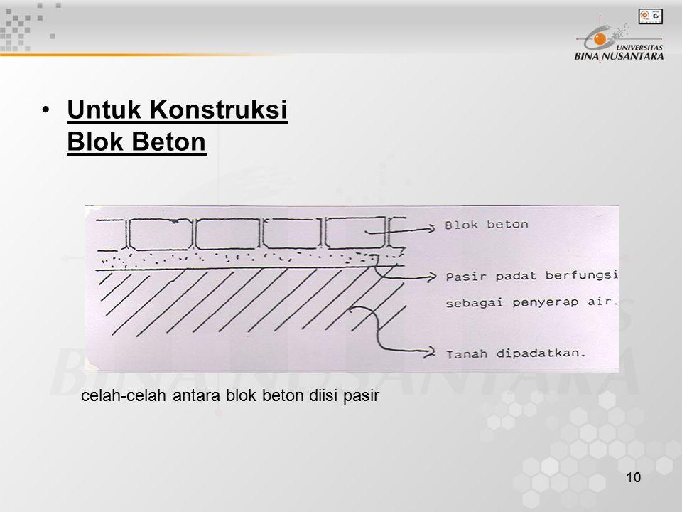 10 Untuk Konstruksi Blok Beton celah-celah antara blok beton diisi pasir