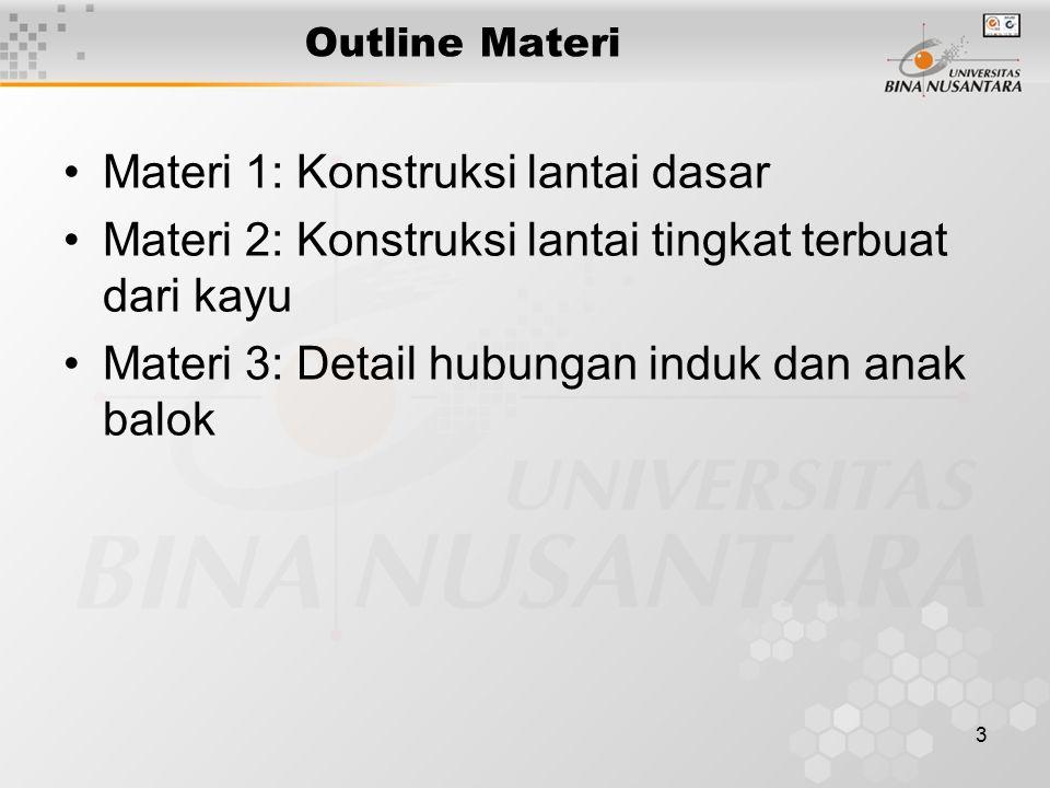 3 Outline Materi Materi 1: Konstruksi lantai dasar Materi 2: Konstruksi lantai tingkat terbuat dari kayu Materi 3: Detail hubungan induk dan anak balo