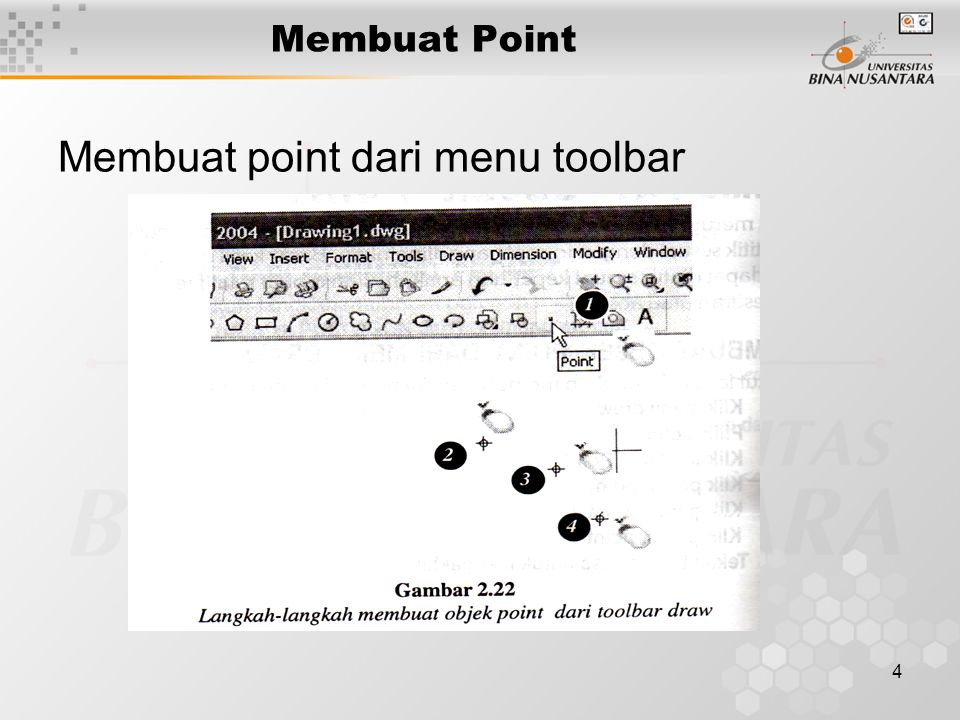 4 Membuat Point Membuat point dari menu toolbar