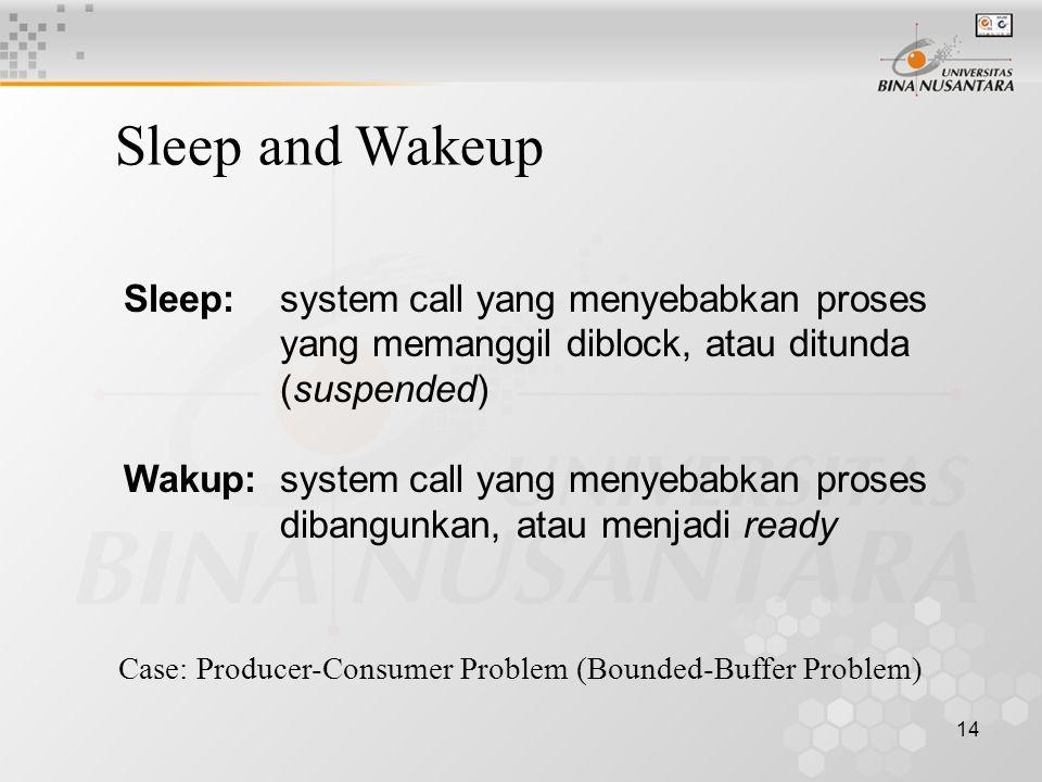 14 Sleep:system call yang menyebabkan proses yang memanggil diblock, atau ditunda (suspended) Wakup:system call yang menyebabkan proses dibangunkan, atau menjadi ready Sleep and Wakeup Case: Producer-Consumer Problem (Bounded-Buffer Problem)