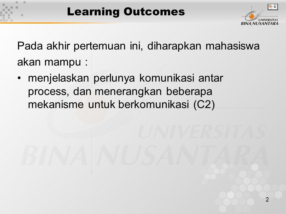 2 Learning Outcomes Pada akhir pertemuan ini, diharapkan mahasiswa akan mampu : menjelaskan perlunya komunikasi antar process, dan menerangkan beberapa mekanisme untuk berkomunikasi (C2)