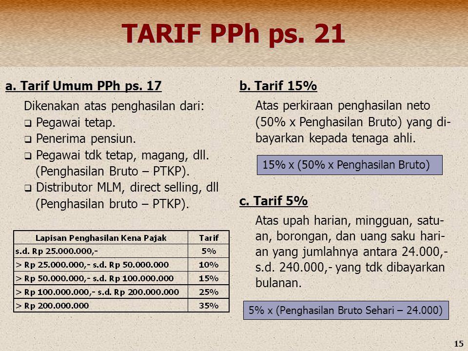 15 TARIF PPh ps. 21 a. Tarif Umum PPh ps. 17 Dikenakan atas penghasilan dari:  Pegawai tetap.  Penerima pensiun.  Pegawai tdk tetap, magang, dll. (