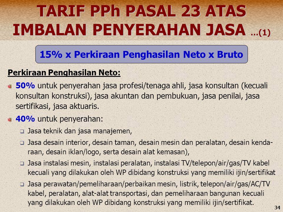 34 TARIF PPh PASAL 23 ATAS IMBALAN PENYERAHAN JASA …(1) Perkiraan Penghasilan Neto: 50% untuk penyerahan jasa profesi/tenaga ahli, jasa konsultan (kec