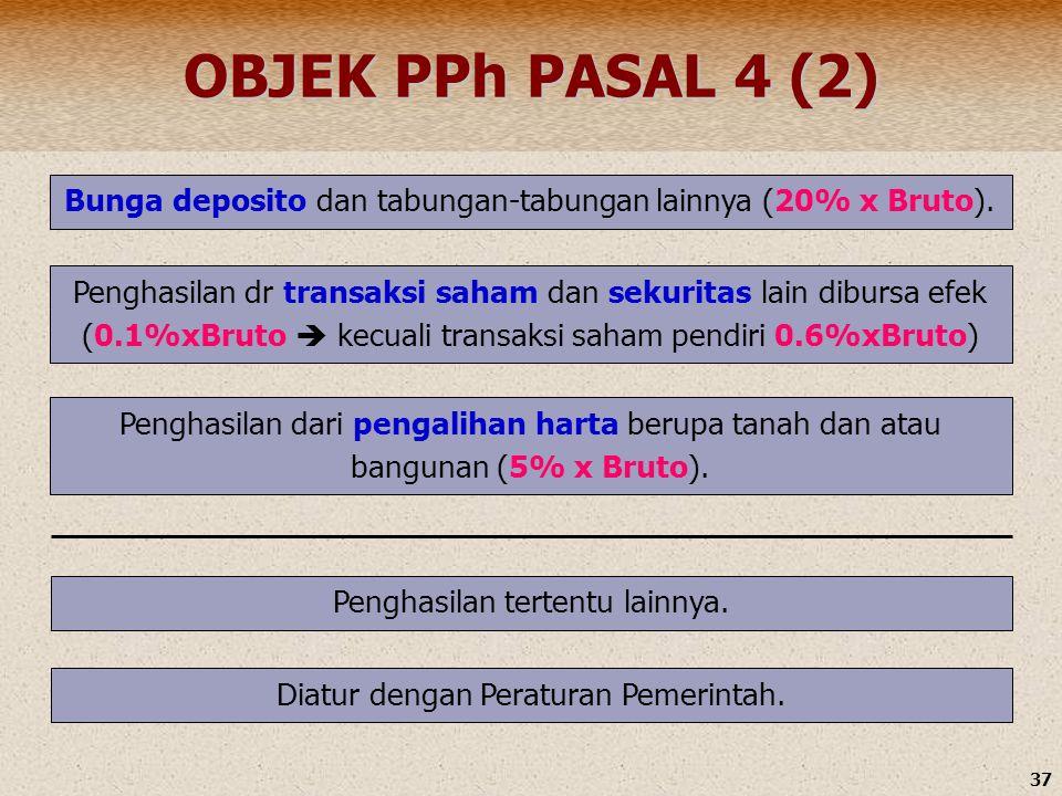 37 OBJEK PPh PASAL 4 (2) Bunga deposito dan tabungan-tabungan lainnya (20% x Bruto). Penghasilan dr transaksi saham dan sekuritas lain dibursa efek (0