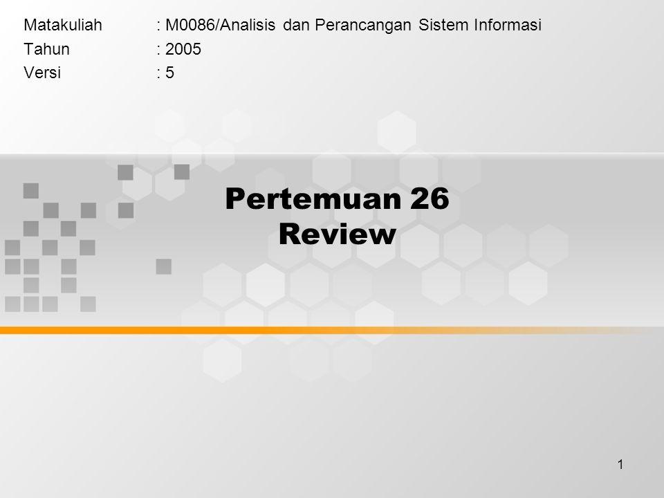 1 Pertemuan 26 Review Matakuliah: M0086/Analisis dan Perancangan Sistem Informasi Tahun: 2005 Versi: 5