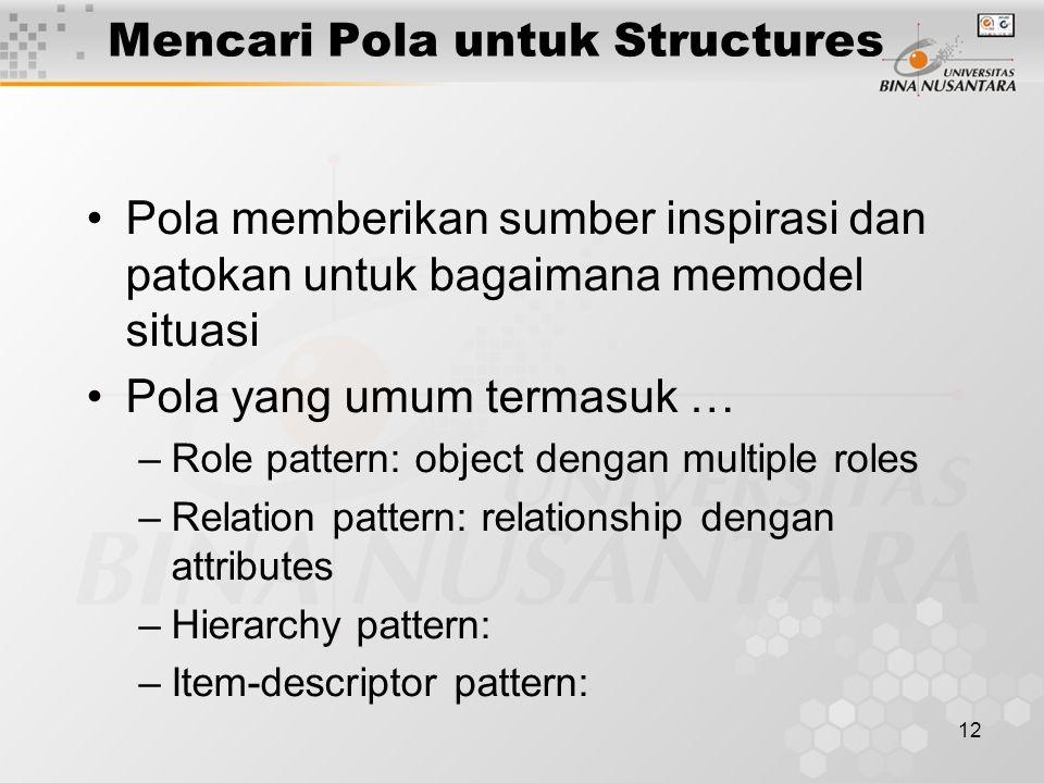 12 Mencari Pola untuk Structures Pola memberikan sumber inspirasi dan patokan untuk bagaimana memodel situasi Pola yang umum termasuk … –Role pattern: object dengan multiple roles –Relation pattern: relationship dengan attributes –Hierarchy pattern: –Item-descriptor pattern: