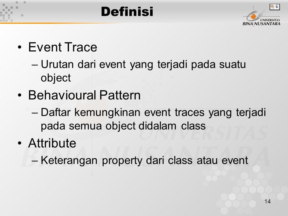 14 Definisi Event Trace –Urutan dari event yang terjadi pada suatu object Behavioural Pattern –Daftar kemungkinan event traces yang terjadi pada semua object didalam class Attribute –Keterangan property dari class atau event