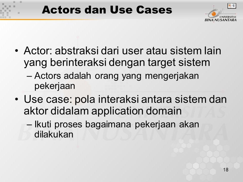 18 Actors dan Use Cases Actor: abstraksi dari user atau sistem lain yang berinteraksi dengan target sistem –Actors adalah orang yang mengerjakan pekerjaan Use case: pola interaksi antara sistem dan aktor didalam application domain –Ikuti proses bagaimana pekerjaan akan dilakukan