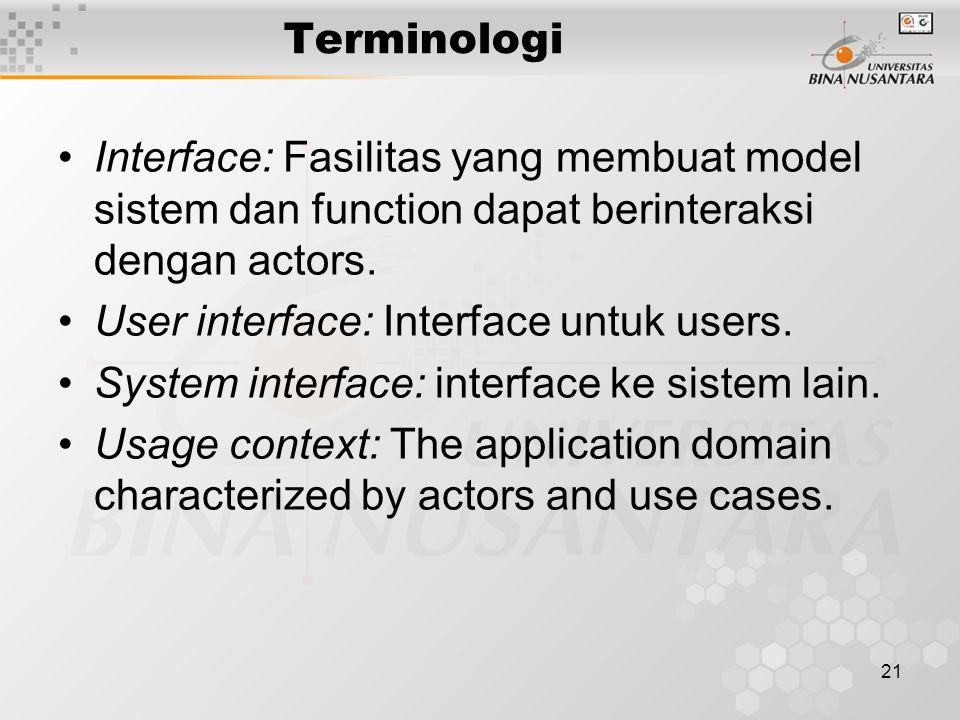 21 Terminologi Interface: Fasilitas yang membuat model sistem dan function dapat berinteraksi dengan actors.
