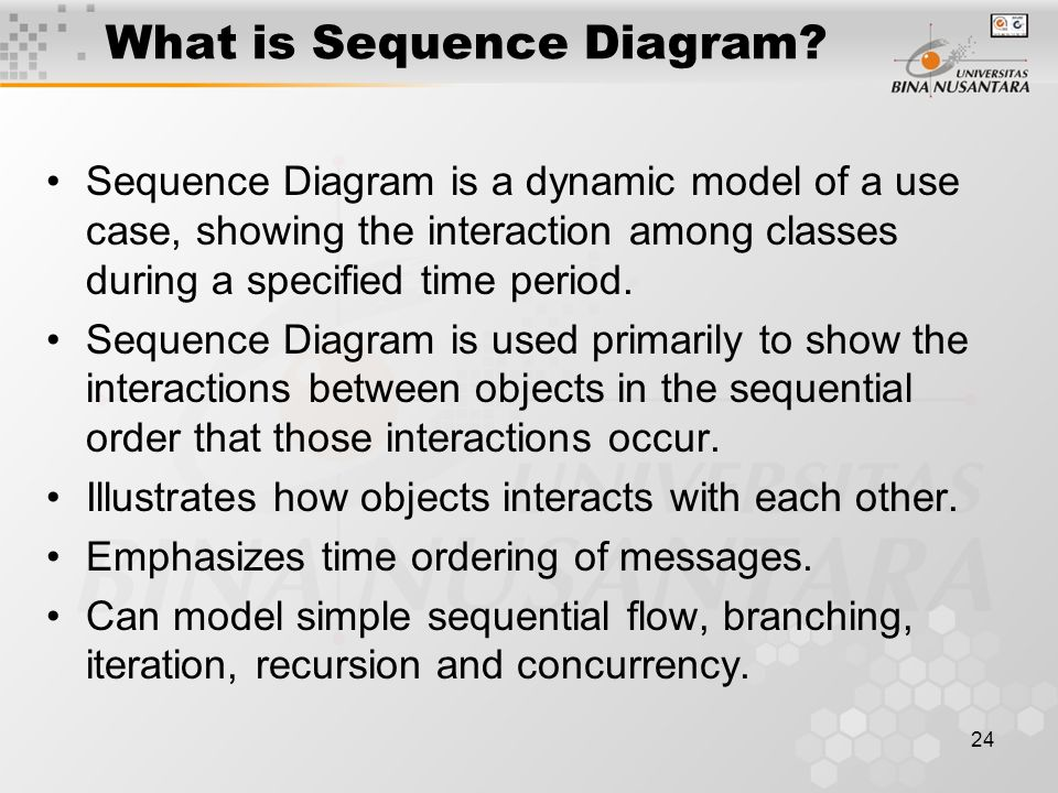 24 What is Sequence Diagram? Sequence Diagram is a dynamic model of a use case, showing the interaction among classes during a specified time period.