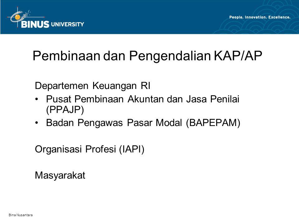 Bina Nusantara Pembinaan dan Pengendalian KAP/AP Departemen Keuangan RI Pusat Pembinaan Akuntan dan Jasa Penilai (PPAJP) Badan Pengawas Pasar Modal (BAPEPAM) Organisasi Profesi (IAPI) Masyarakat