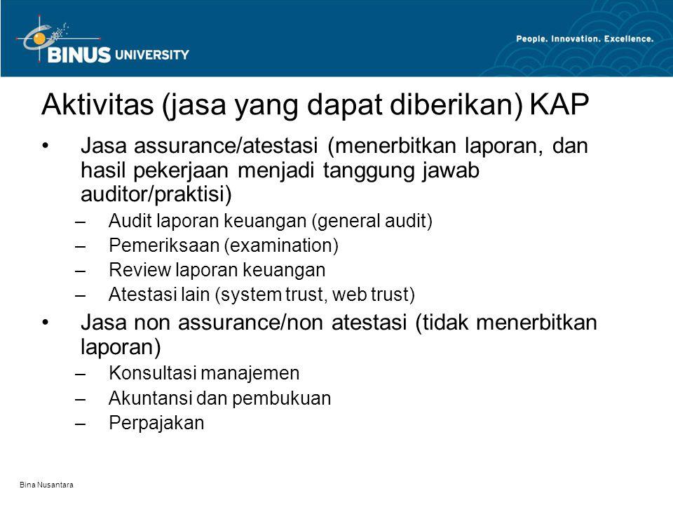Bina Nusantara Aktivitas (jasa yang dapat diberikan) KAP Jasa assurance/atestasi (menerbitkan laporan, dan hasil pekerjaan menjadi tanggung jawab audi