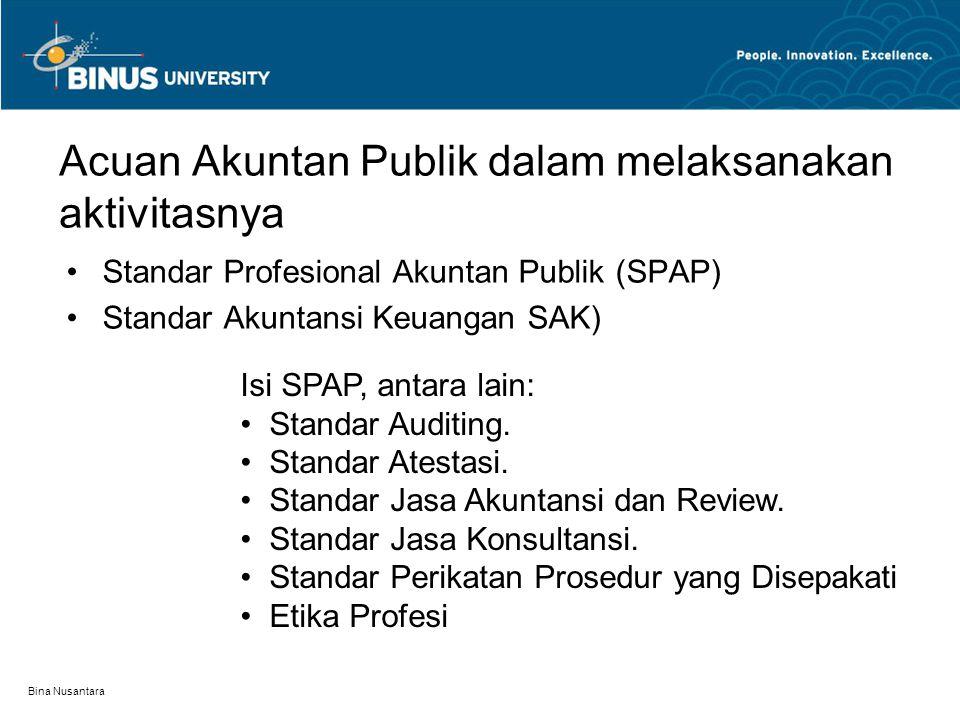 Bina Nusantara Acuan Akuntan Publik dalam melaksanakan aktivitasnya Standar Profesional Akuntan Publik (SPAP) Standar Akuntansi Keuangan SAK) Isi SPAP, antara lain: Standar Auditing.