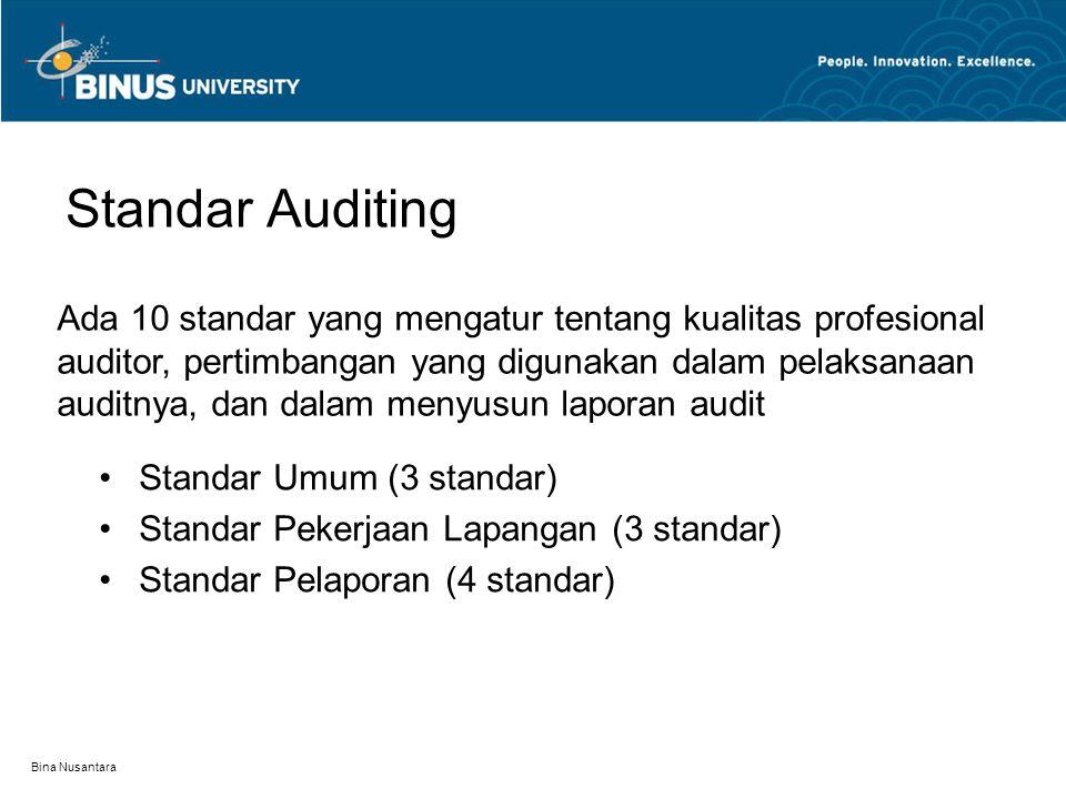 Bina Nusantara Standar Auditing Standar Umum (3 standar) Standar Pekerjaan Lapangan (3 standar) Standar Pelaporan (4 standar) Ada 10 standar yang mengatur tentang kualitas profesional auditor, pertimbangan yang digunakan dalam pelaksanaan auditnya, dan dalam menyusun laporan audit