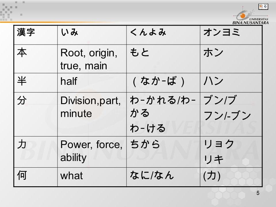 5 漢字いみくんよみオンヨミ 本 Root, origin, true, main もとホン 半 half (なかーば)ハン 分 Division,part, minute わーかれる / わー かる わーける ブン / ブ フン /- ブン 力 Power, force, ability ちからリョク リキ 何 what なに / なん (カ)(カ)