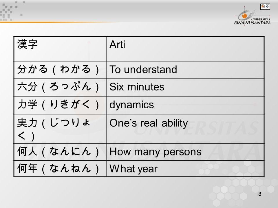 9 Simpulan Kanji yang terbuat dari simbol dibentuk berdasarkan imajinasi orang jepang pada saat itu terhadap benda yang dimaksud.
