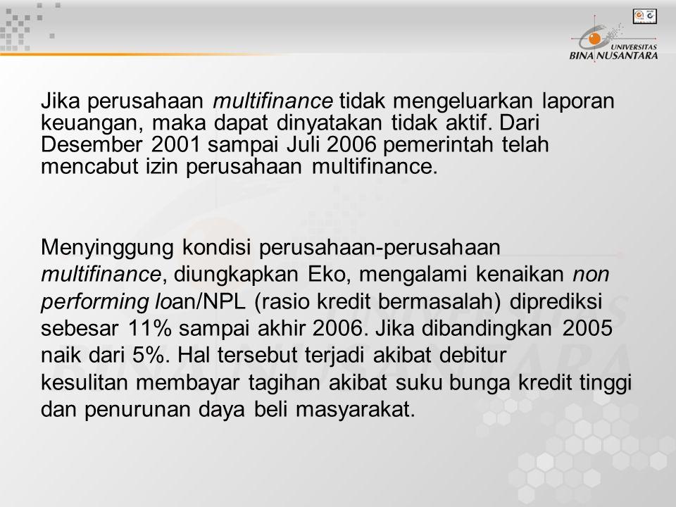 Jika perusahaan multifinance tidak mengeluarkan laporan keuangan, maka dapat dinyatakan tidak aktif.