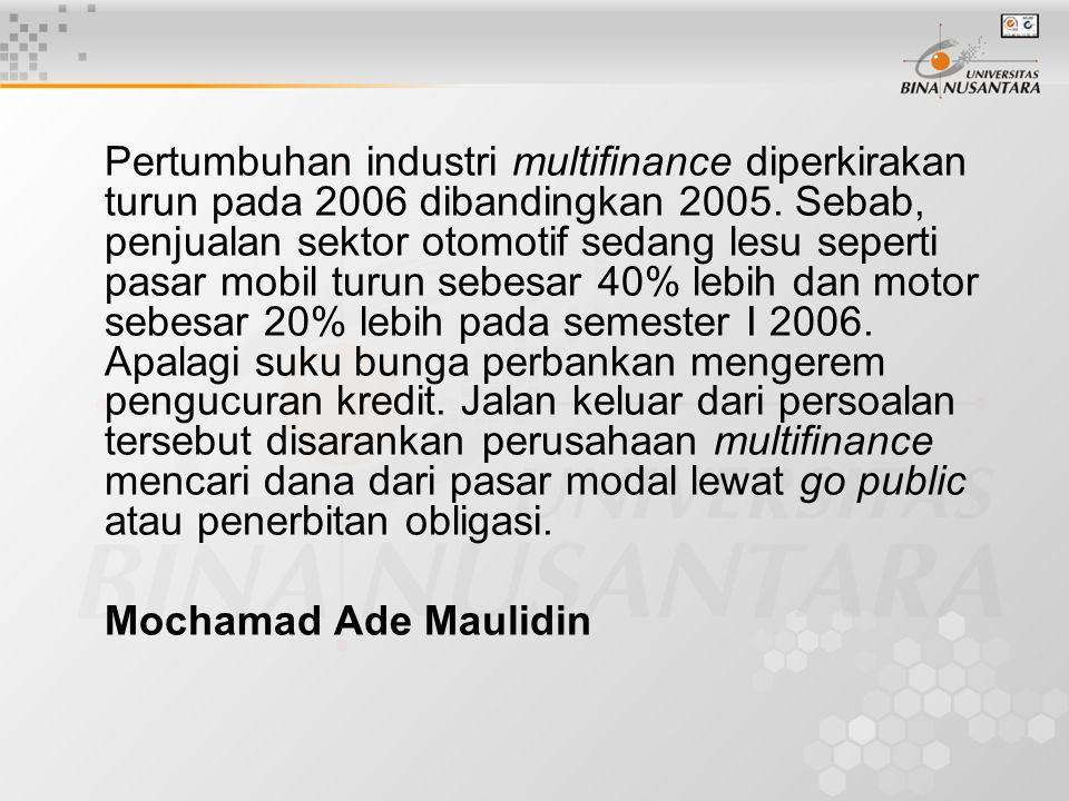 Pertumbuhan industri multifinance diperkirakan turun pada 2006 dibandingkan 2005.