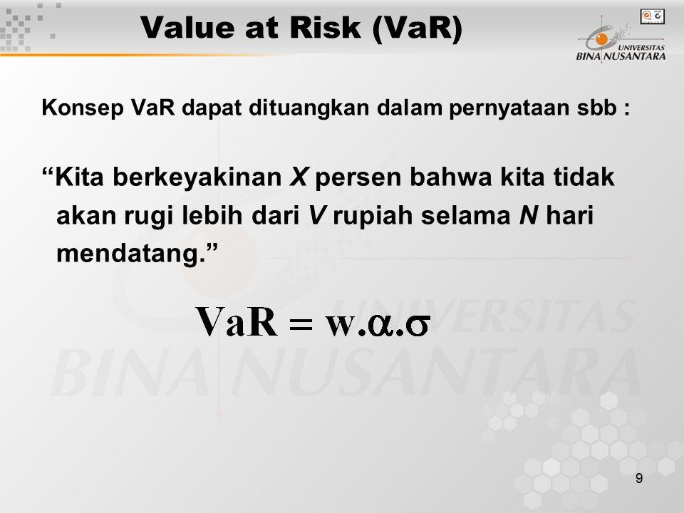 """9 Value at Risk (VaR) Konsep VaR dapat dituangkan dalam pernyataan sbb : """"Kita berkeyakinan X persen bahwa kita tidak akan rugi lebih dari V rupiah se"""