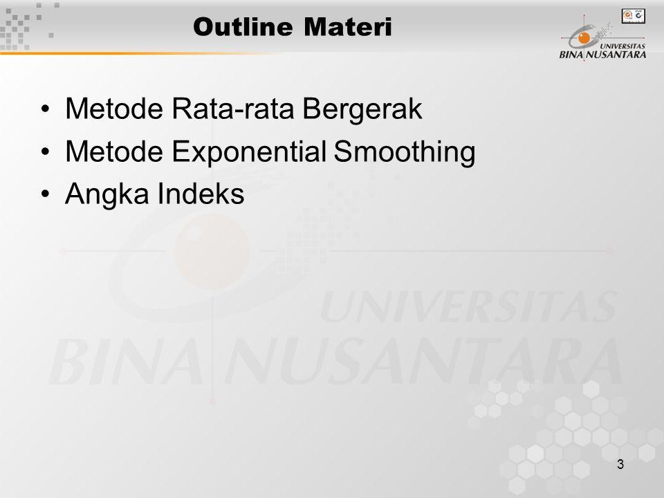 3 Outline Materi Metode Rata-rata Bergerak Metode Exponential Smoothing Angka Indeks