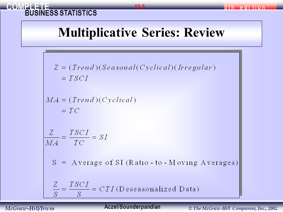 COMPLETE 5 t h e d i t i o n BUSINESS STATISTICS Aczel/Sounderpandian McGraw-Hill/Irwin © The McGraw-Hill Companies, Inc., 2002 12-5 Multiplicative Series: Review