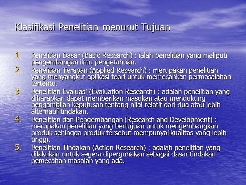 Klasifikasi Penelitian menurut Tujuan 1. Penelitian Dasar (Basic Research) : ialah penelitian yang meliputi pengembangan ilmu pengetahuan. 2. Peneliti