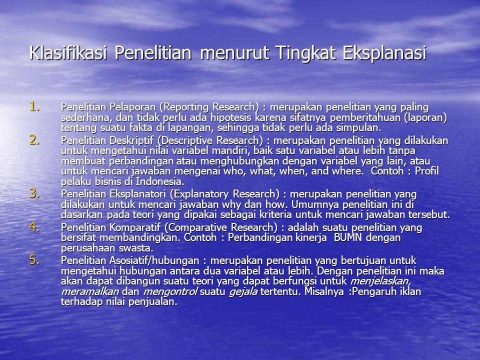 Klasifikasi Penelitian menurut Tingkat Eksplanasi 1. Penelitian Pelaporan (Reporting Research) : merupakan penelitian yang paling sederhana, dan tidak