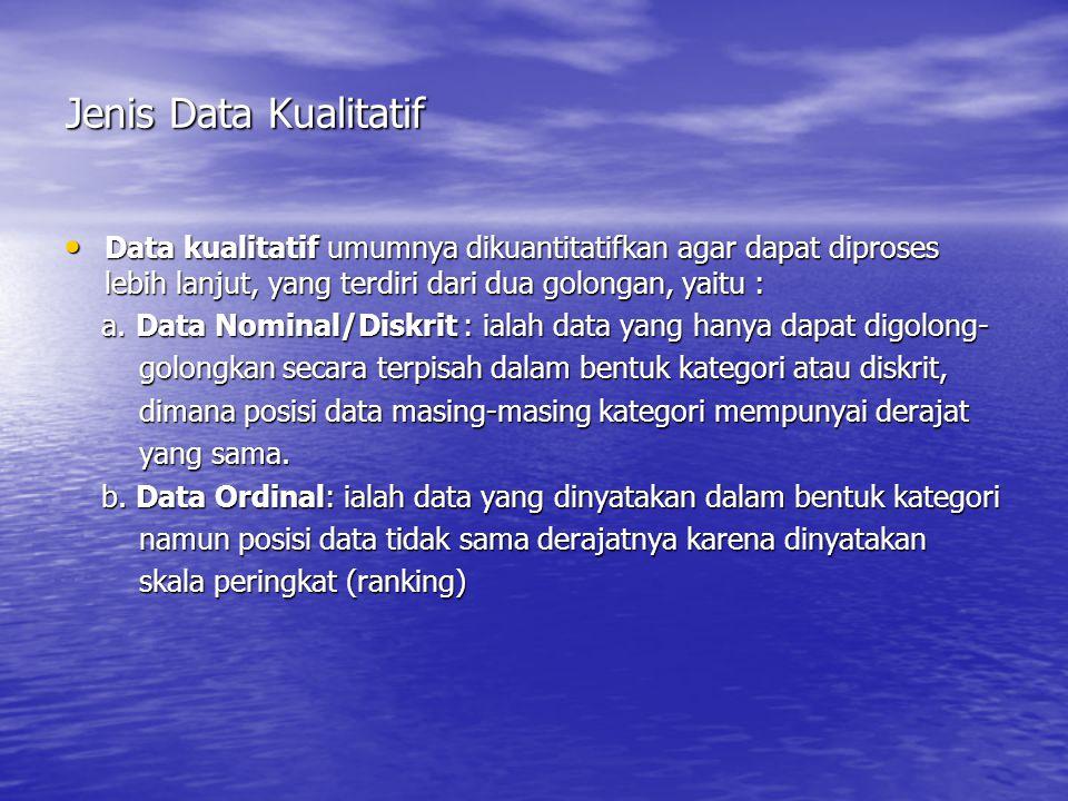 Jenis Data Kualitatif Data kualitatif umumnya dikuantitatifkan agar dapat diproses lebih lanjut, yang terdiri dari dua golongan, yaitu : Data kualitat