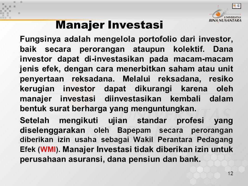 12 Manajer Investasi Fungsinya adalah mengelola portofolio dari investor, baik secara perorangan ataupun kolektif. Dana investor dapat di-investasikan