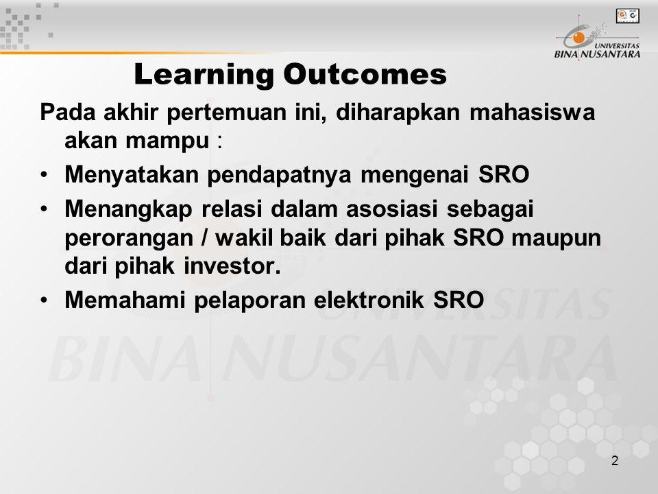 2 Learning Outcomes Pada akhir pertemuan ini, diharapkan mahasiswa akan mampu : Menyatakan pendapatnya mengenai SRO Menangkap relasi dalam asosiasi se