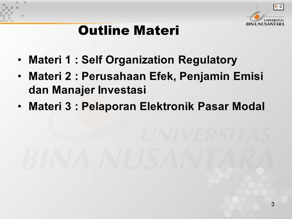 3 Outline Materi Materi 1 : Self Organization Regulatory Materi 2 : Perusahaan Efek, Penjamin Emisi dan Manajer Investasi Materi 3 : Pelaporan Elektro