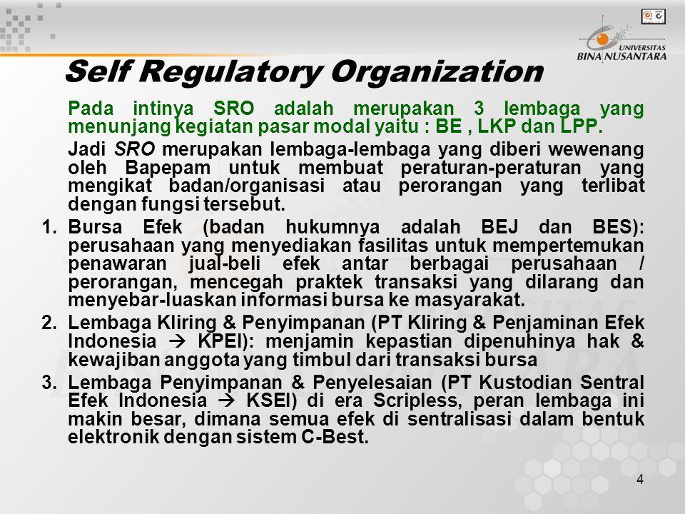 4 Self Regulatory Organization Pada intinya SRO adalah merupakan 3 lembaga yang menunjang kegiatan pasar modal yaitu : BE, LKP dan LPP. Jadi SRO merup