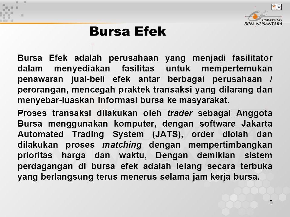 5 Bursa Efek Bursa Efek adalah perusahaan yang menjadi fasilitator dalam menyediakan fasilitas untuk mempertemukan penawaran jual-beli efek antar berb