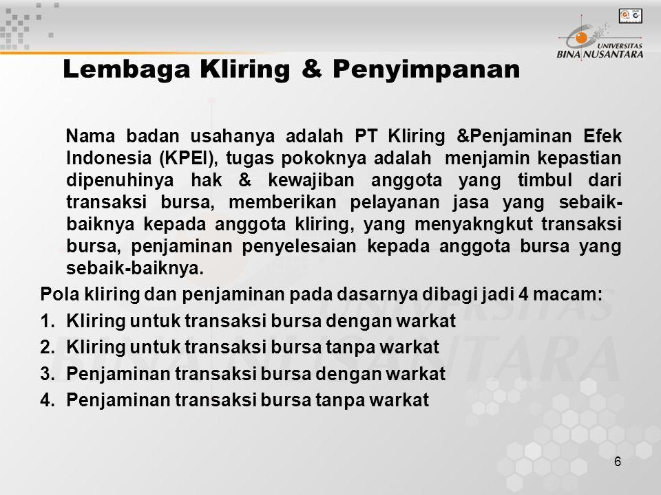 6 Lembaga Kliring & Penyimpanan Nama badan usahanya adalah PT Kliring &Penjaminan Efek Indonesia (KPEI), tugas pokoknya adalah menjamin kepastian dipe