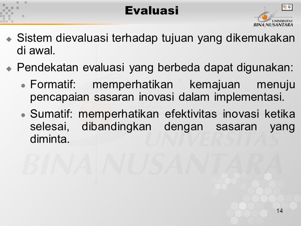 14 Evaluasi  Sistem dievaluasi terhadap tujuan yang dikemukakan di awal.