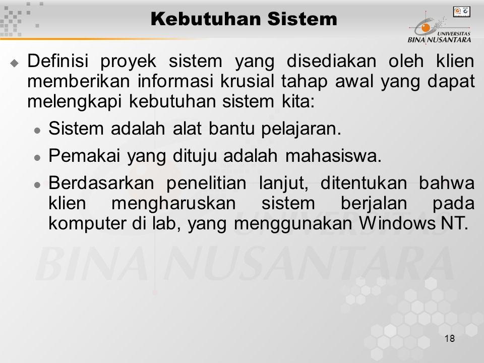 18 Kebutuhan Sistem  Definisi proyek sistem yang disediakan oleh klien memberikan informasi krusial tahap awal yang dapat melengkapi kebutuhan sistem kita: Sistem adalah alat bantu pelajaran.