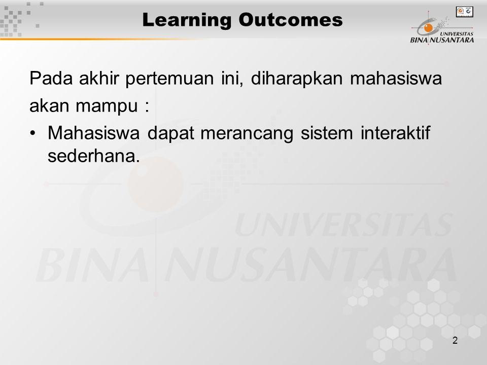 2 Learning Outcomes Pada akhir pertemuan ini, diharapkan mahasiswa akan mampu : Mahasiswa dapat merancang sistem interaktif sederhana.