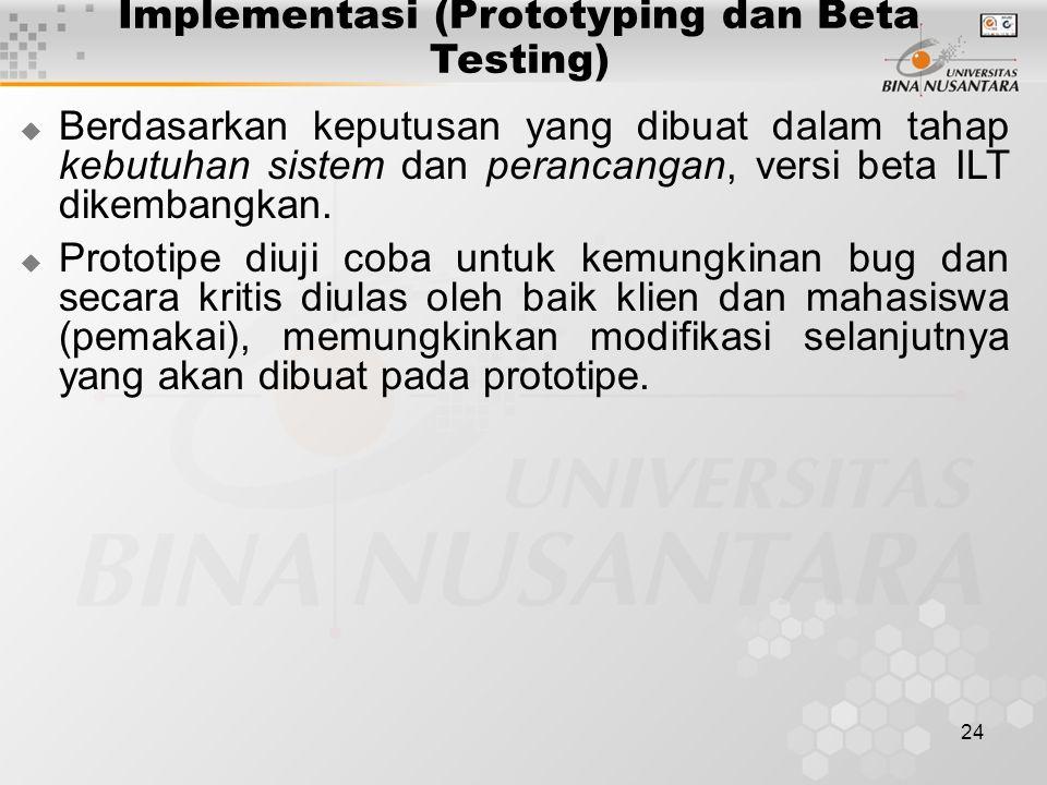 24 Implementasi (Prototyping dan Beta Testing)  Berdasarkan keputusan yang dibuat dalam tahap kebutuhan sistem dan perancangan, versi beta ILT dikembangkan.