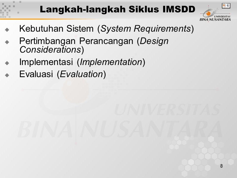 8 Langkah-langkah Siklus IMSDD  Kebutuhan Sistem (System Requirements)  Pertimbangan Perancangan (Design Considerations)  Implementasi (Implementation)  Evaluasi (Evaluation)