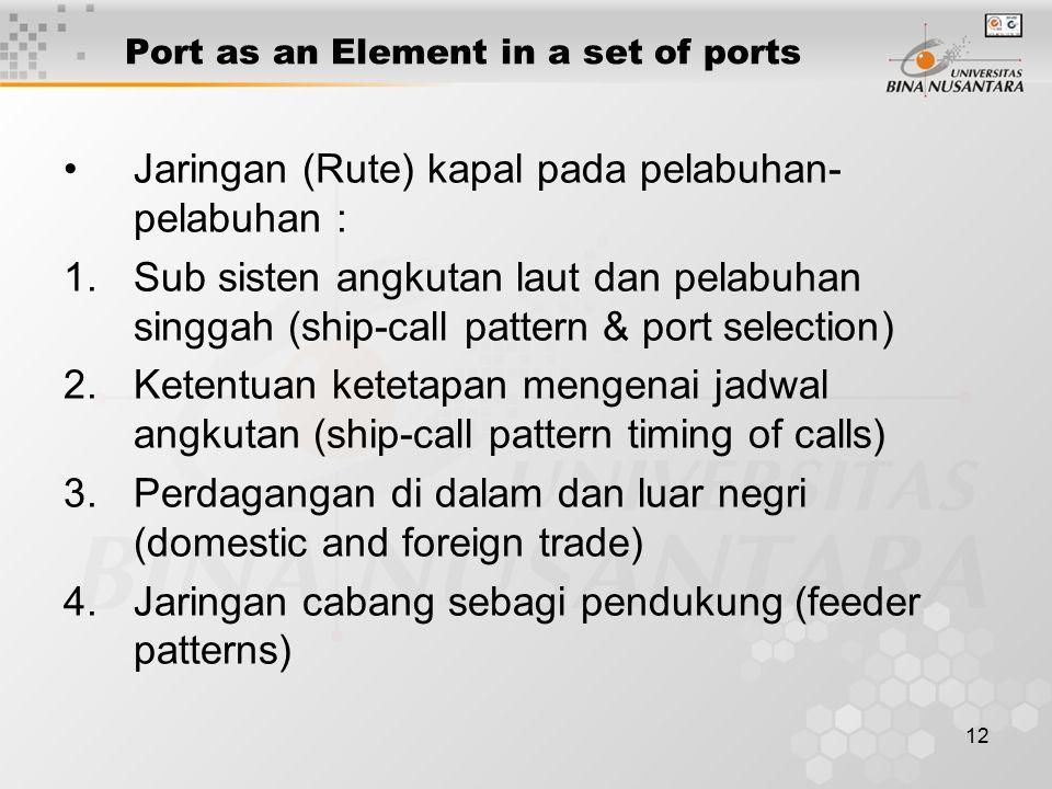 12 Port as an Element in a set of ports Jaringan (Rute) kapal pada pelabuhan- pelabuhan : 1.Sub sisten angkutan laut dan pelabuhan singgah (ship-call