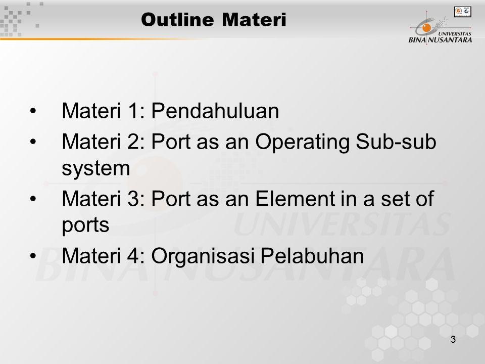 3 Outline Materi Materi 1: Pendahuluan Materi 2: Port as an Operating Sub-sub system Materi 3: Port as an Element in a set of ports Materi 4: Organisa
