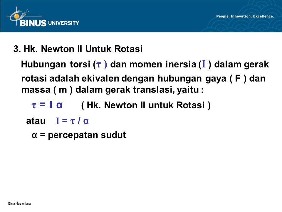 Bina Nusantara 3. Hk. Newton II Untuk Rotasi Hubungan torsi ( τ ) dan momen inersia ( I ) dalam gerak rotasi adalah ekivalen dengan hubungan gaya ( F