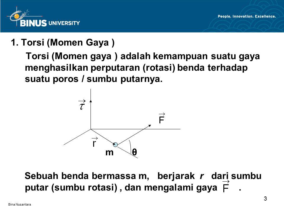 Bina Nusantara Torsi oleh gaya F dalam merotasikan benda adalah : τ = r x F ( torsi merupakan suatu besaran vektor ) Torsi τ tegak lurus terhadap bidang yang dibentuk oleh r dan F, artinya τ tegak lurus terhadap r dan tegak lurus terhadap F.