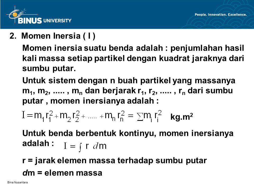Bina Nusantara 2. Momen Inersia ( I ) Momen inersia suatu benda adalah : penjumlahan hasil kali massa setiap partikel dengan kuadrat jaraknya dari sum