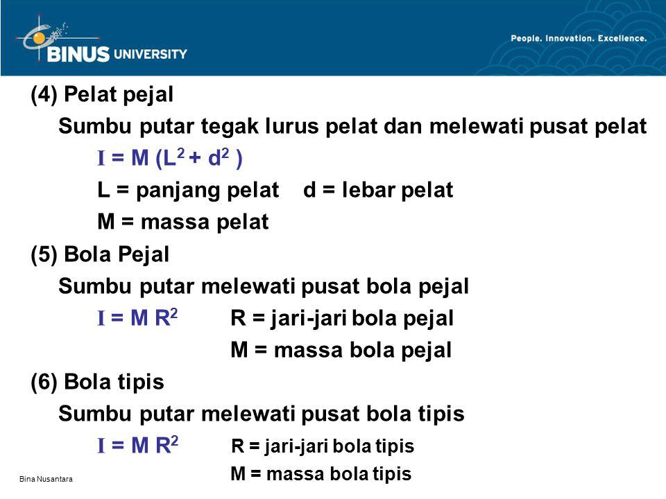 Bina Nusantara (4) Pelat pejal Sumbu putar tegak lurus pelat dan melewati pusat pelat I = M (L 2 + d 2 ) L = panjang pelat d = lebar pelat M = massa p