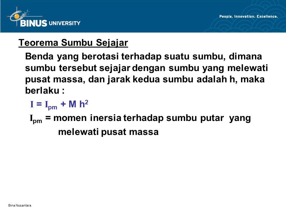 Bina Nusantara Teorema Sumbu Sejajar Benda yang berotasi terhadap suatu sumbu, dimana sumbu tersebut sejajar dengan sumbu yang melewati pusat massa, d