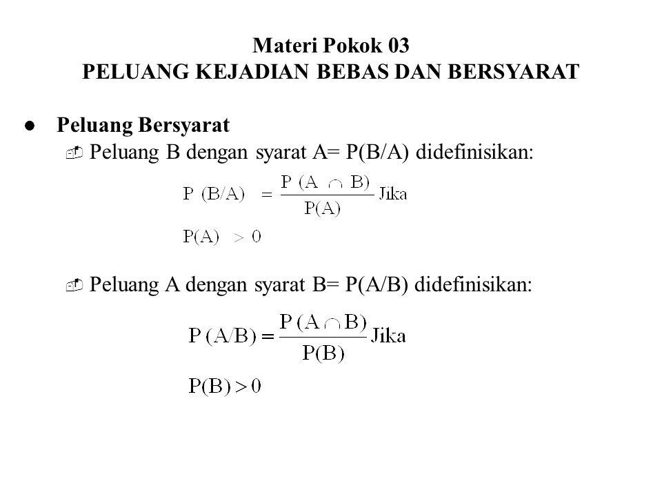 Materi Pokok 03 PELUANG KEJADIAN BEBAS DAN BERSYARAT Peluang Bersyarat  Peluang B dengan syarat A= P(B/A) didefinisikan:  Peluang A dengan syarat B=