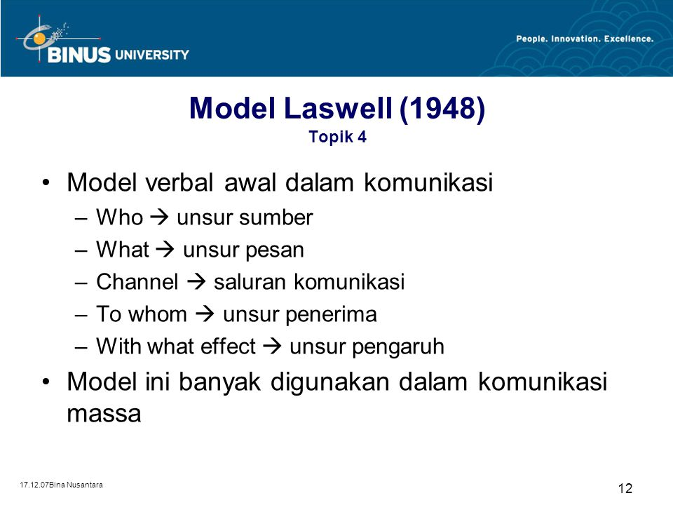 17.12.07Bina Nusantara 11 Model Alir Banyak Tahap Topik 4 Pemirsa/ Pembaca/ Pendengar Media Pemirsa/ Pembaca/ Pendengar Josep A. Devito, 1987